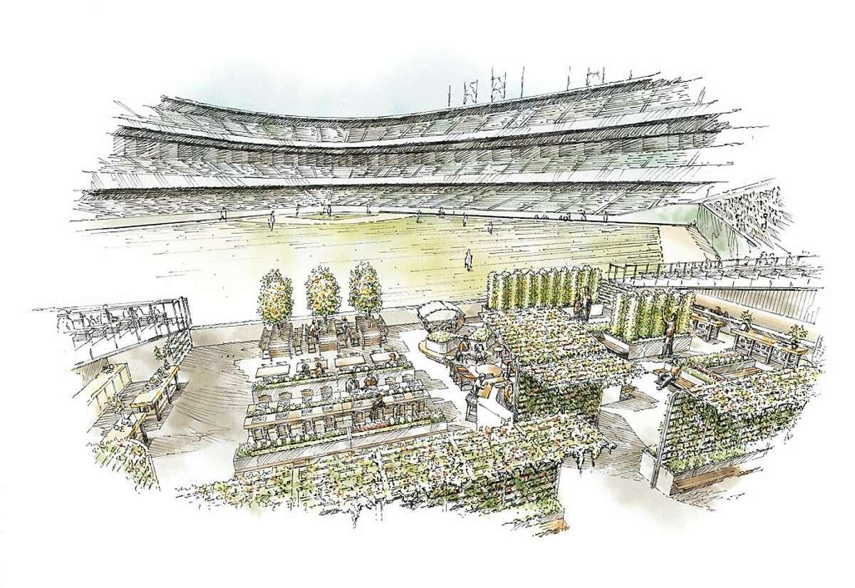 An artists' rendering of the Giants Garden, a 3,000-square-foot organic garden slated to open next season at AT&T Park. Believed to be the first of its kind at an American sports venue, the edible garden will supply produce for some of the parks' concessions and serve as an open-air dining area and community classroom.