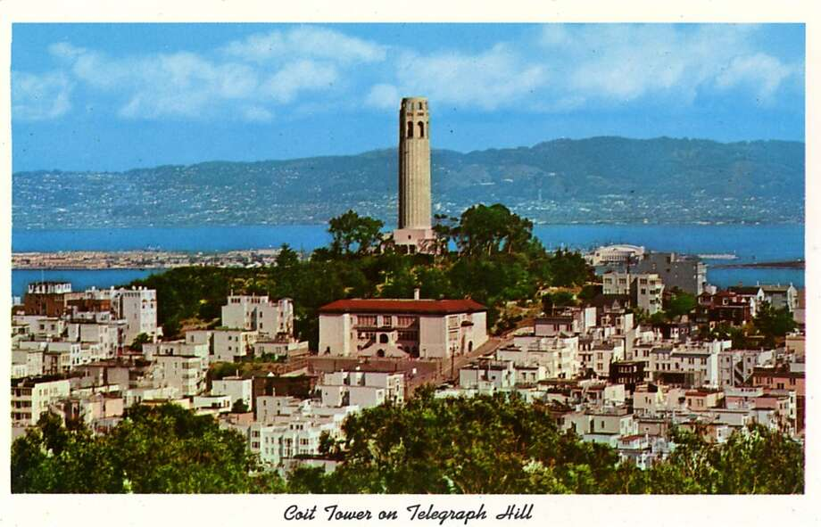 Vintage postcard showing Coit Tower on Telegraph hill overlooking the Bay with spectacular views of the city. Photo: Curt Teich Postcard Archives, Getty Images