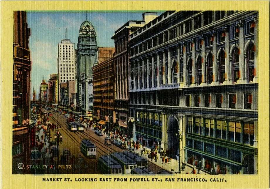 Postcard view of Market Street in 1944, showing buildings, traffic, cable cars and pedestrians. Photo: Curt Teich Postcard Archives, Getty Images