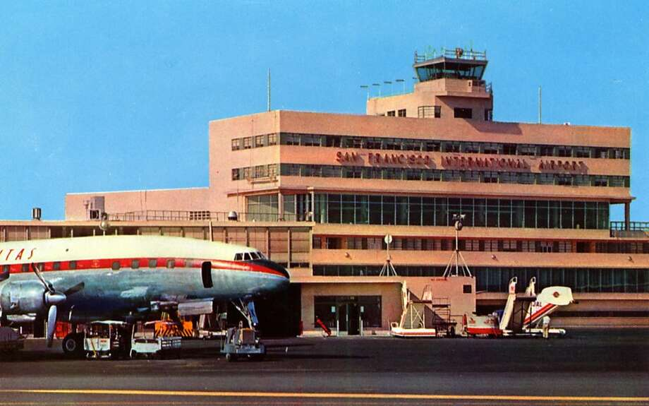 Vintage 1957 postcard showing the main terminal building at the airport, a Jet plane is at the gate on the left being serviced. Photo: Curt Teich Postcard Archives, Getty Images