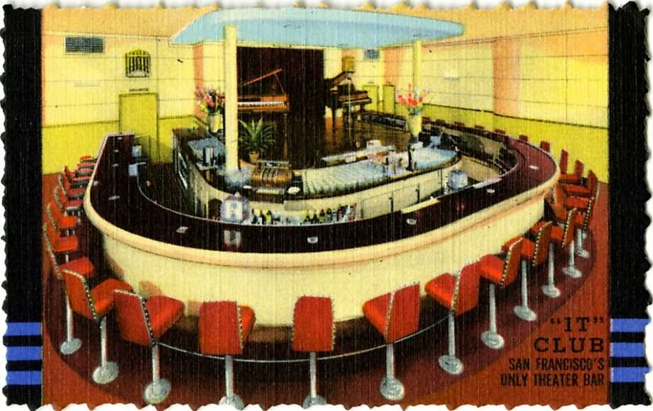 Postcard view of the interior of the It Club showing the horseshoe shaped bar and two baby grand pianos on a stage in 1945. Photo: Curt Teich Postcard Archives, Getty Images