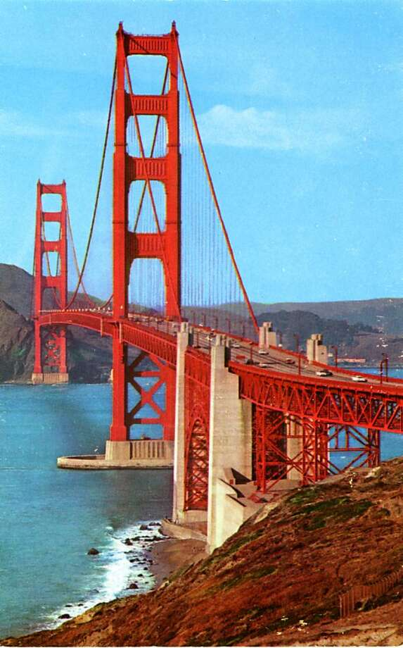 Vintage postcard showing the Golden Gate Bridge looking toward the Marin shore. The bridge spans the Golden Gate, the opening of San Francisco into the Pacific Ocean. Photo: Curt Teich Postcard Archives