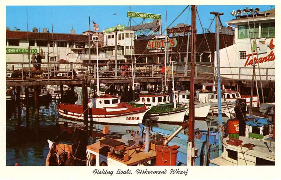Vintage 1957 postcard showing dozens of gaily painted fishing boats at anchor at Fisherman's Wharf. Fisherman's Grotto is visible in the background. Photo: Curt Teich Postcard Archives, Getty Images
