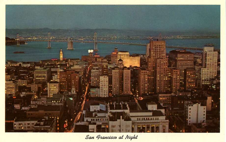 Vintage 1957 postcard showing a bird's eye view over the city looking out toward the bay and showing the Bay Bridge. Photo: Curt Teich Postcard Archives, Getty Images