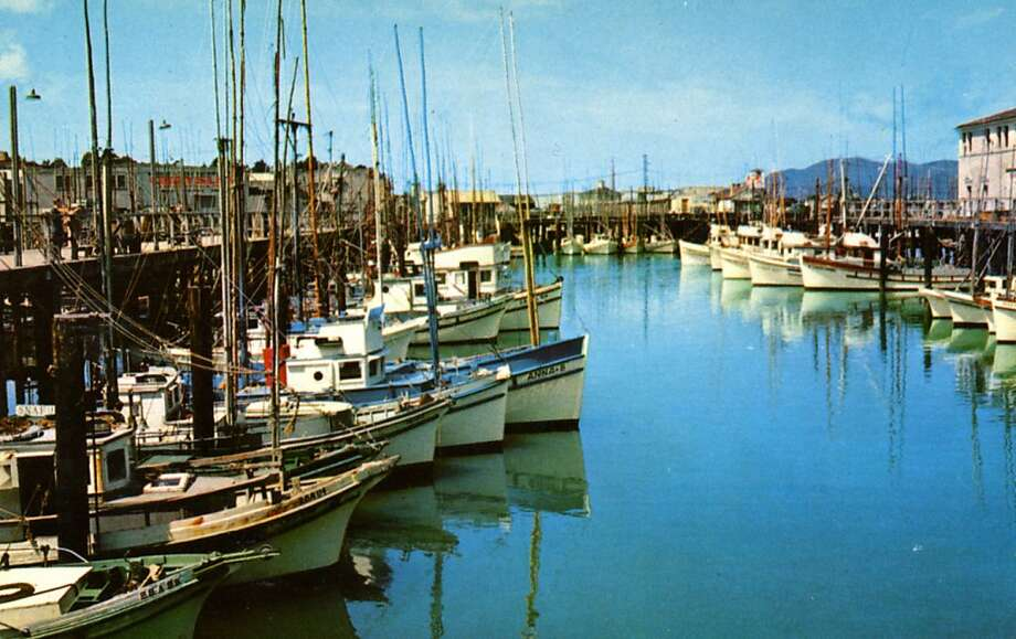 Vintage 1957 postcard showing fishing boats tied to the docks at Fisherman's Wharf.  Photo: Curt Teich Postcard Archives, Getty Images