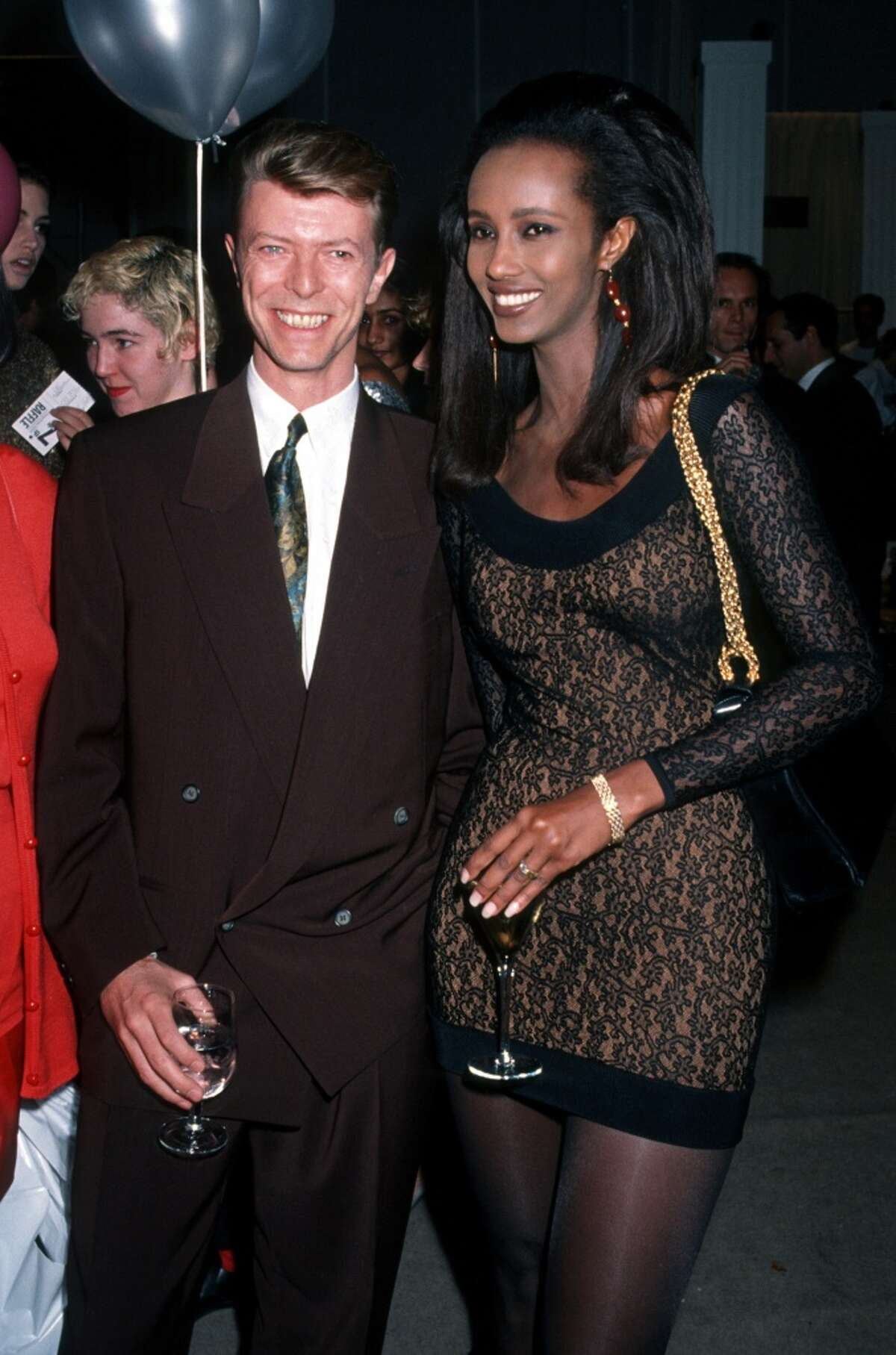 Iman and David Bowie in 1990.