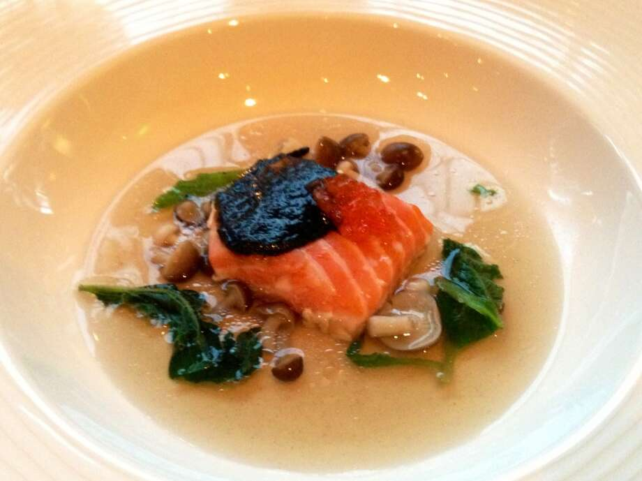 Loretta Keller's local salmon with nori paste, borage  broth and beech mushrooms