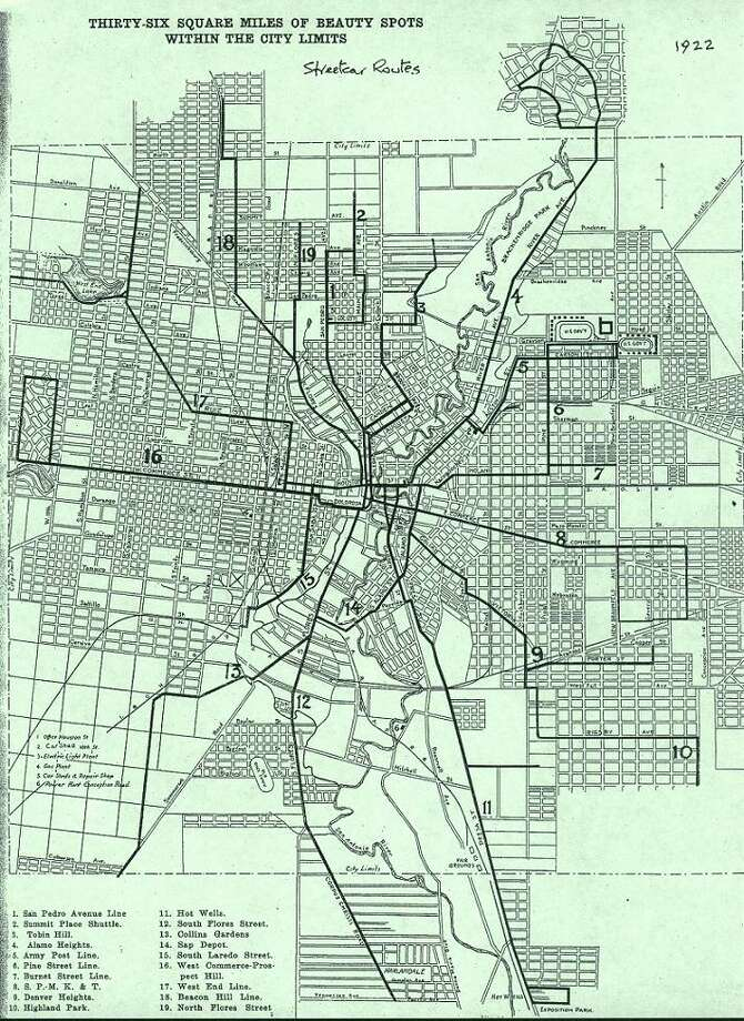 A 1922 map of San Antonio streetcar routes shows the system at its peak. Photo: File Photos