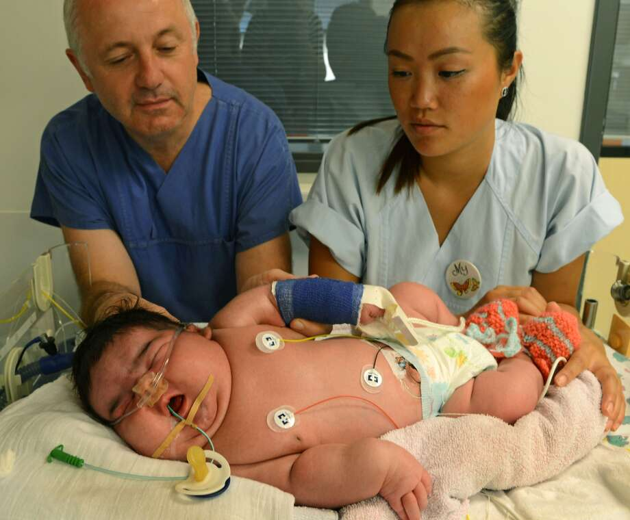 A woman gave birth to Germany's heaviest newborn on Monday, July 29, 2013, without the aid of a Cesarean. Baby Jasleen, a girl, weighed 13.47 pounds. Doctors at the University Hospital in Leipzig say the mother suffered from a undiscovered gestational diabetes. The condition can result in the birth of large babies.See photos of other record-breaking births here.