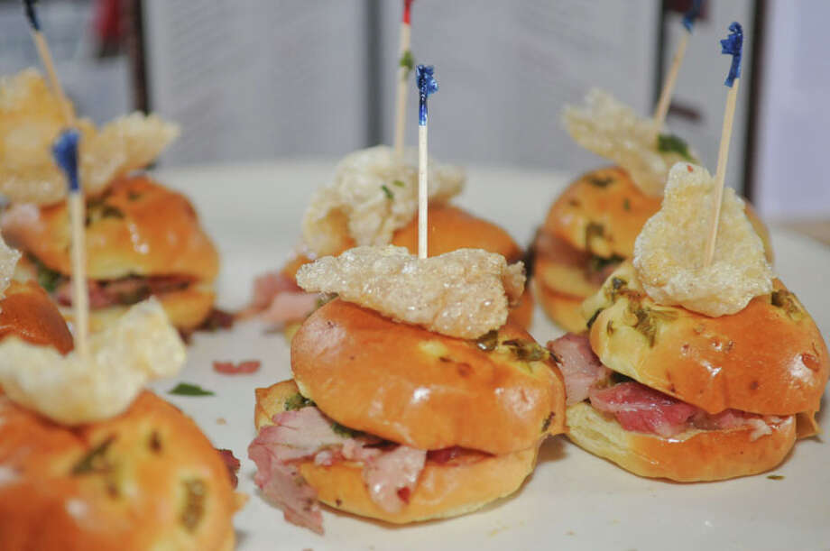 The Tasting Room made sliders with cured pork belly tenderloin on jalapeno rolls. Photo: Daniel Ortiz