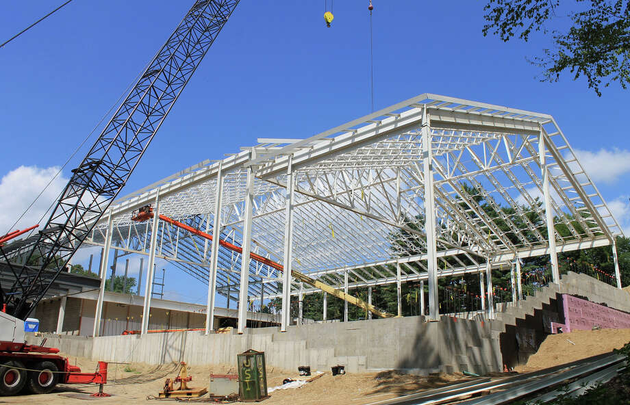 """A """"topping-off"""" ceremony for the new Westport Weston Family Y is set for Wednesday July 31, 2013 in Westport, Conn. Structural steel work for the 54,000-square-foot building is shown as of this week. Photo: Contributed Photo / Westport News contributed"""