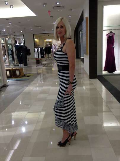 Margaret Morgan wears head-to-toe black and white stripes, a huge summer trend that is chic,