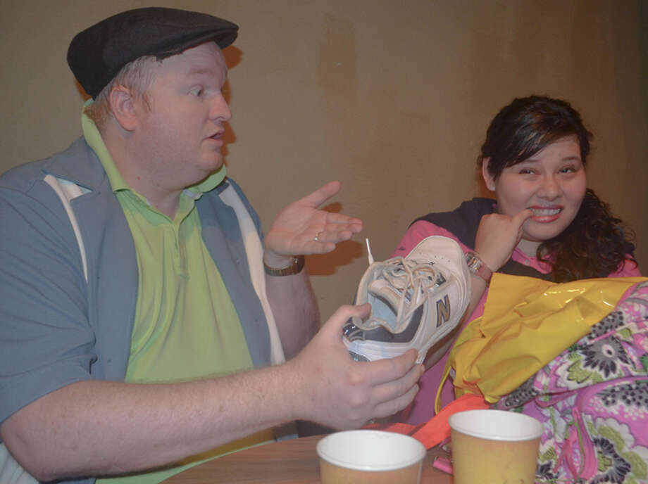 "Christopher Reed (from left) and Allie Perez appear in ""Shel's Shorts"" at the Cameo Lounge. / Charlie Perez 2012"