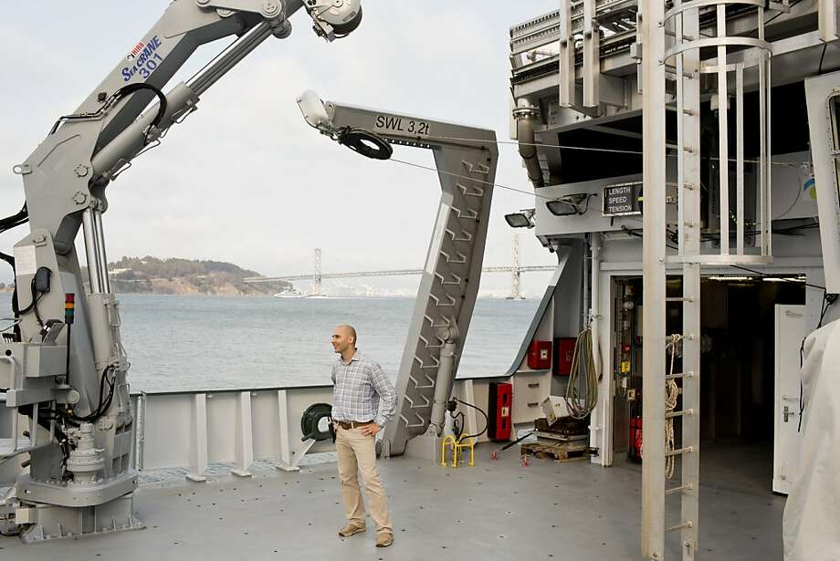 Research director Victor Zykov stands aboard the Falcor, docked at the Exploratorium. The high-tech vessel is operated by the Schmidt Ocean Institute, which was founded by Google's Eric Schmidt and his wife, Wendy. Photo: Jason Henry, Special To The Chronicle