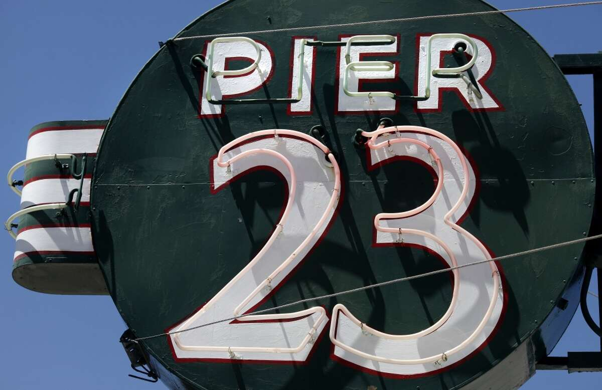 The iconic Pier 23 Cafe neon sign on the Embarcadero.