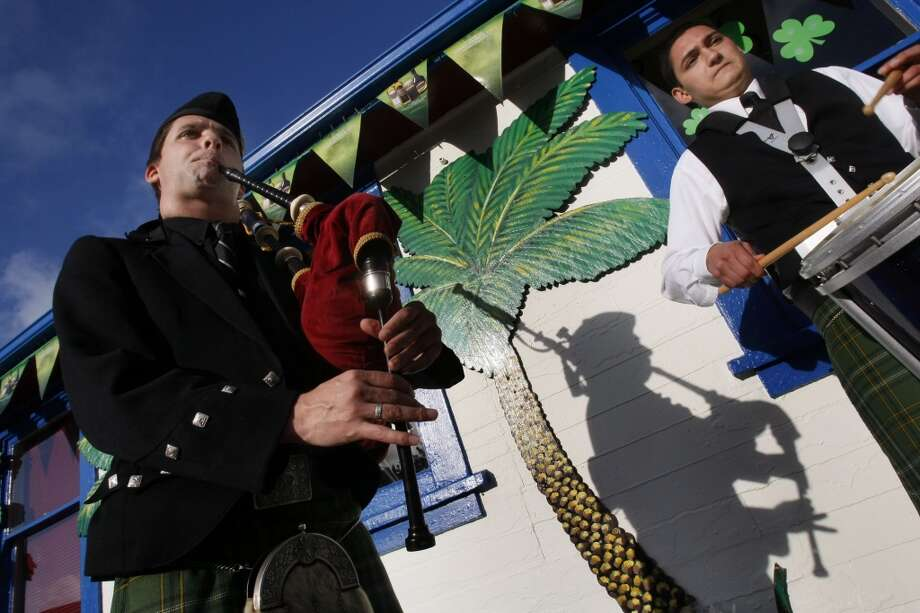 Mike Leboeuf and Andrew Moore are members of the oldest pipe band west of the Mississippi. The pipers were playing at Pier 23 in San Francisco, Calif., on March 15, 2008. Photo: Lance Iversen, San Francisco Chronicle