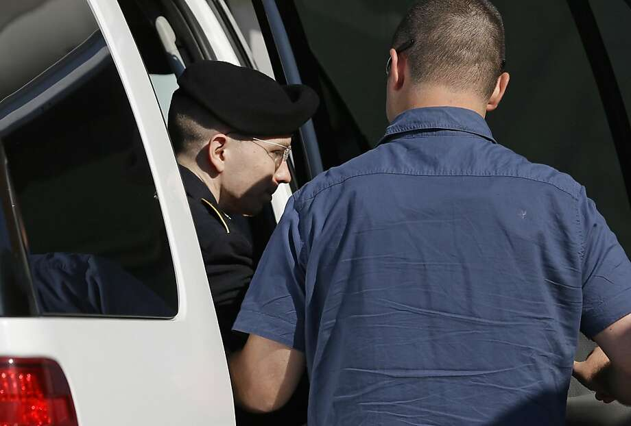 Pfc. Bradley Manning arrives at the courthouse in Fort Meade, Md., to hear the verdict. He was convicted of 20 charges. Photo: Patrick Semansky, Associated Press