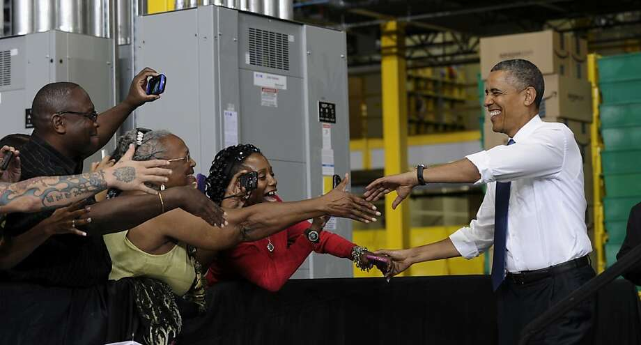 President Obama arrives at the Amazon fulfillment center in Chattanooga, Tenn., for a speech on private-sector job growth. Photo: Susan Walsh, Associated Press