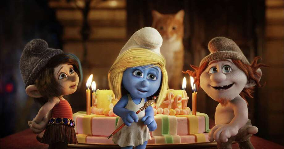 "This publicity image released by Sony Pictures Animation shows from left, Vexy, voiced by Christina Ricci, Smurfette, voiced by Katy Perry and Hackus, voiced by J.B. Smoove, in a scene from the film ""Smurfs 2."" (AP Photo/Sony Pictures Animation) ORG XMIT: NYET728 / Sony Pictures Animation"