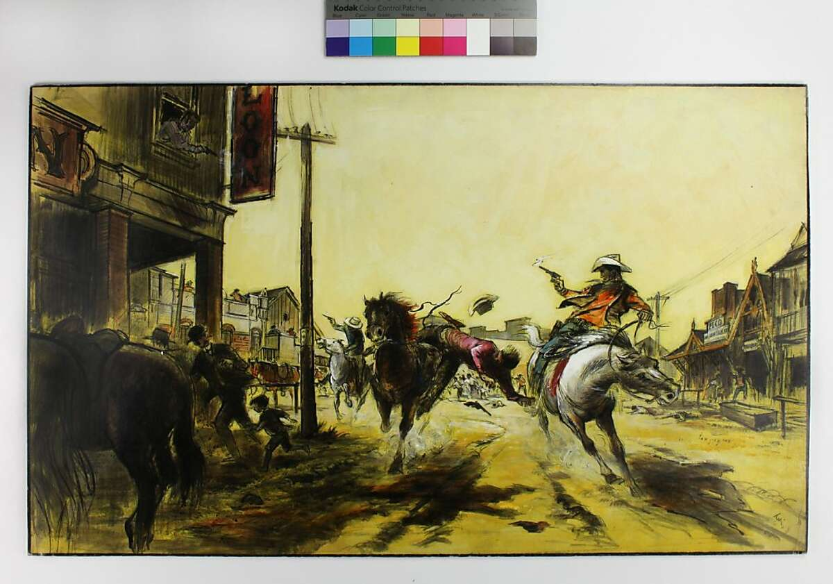 """Preproduction illustration for """"The Wild Bunch"""" by Tyrus Wong, 1969"""
