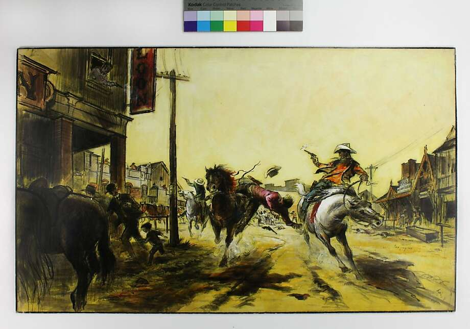 "Preproduction illustration for ""The Wild Bunch"" by Tyrus Wong, 1969 Photo: Courtesy Tyrus Wong Family"