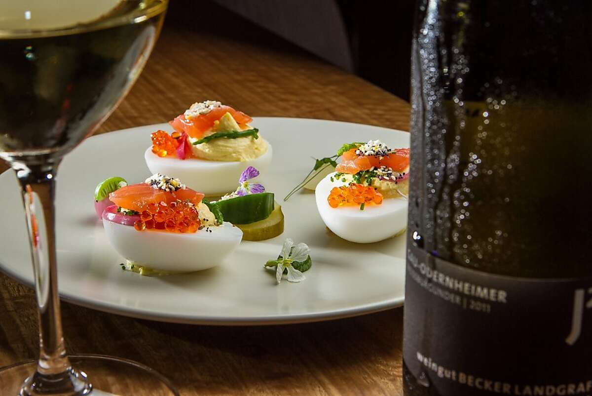 The Deviled Duck Eggs with Becker Landgraf Weissburgunder wine at 20 Spot in San Francisco, Calif., is seen on Saturday, July 27th, 2013.