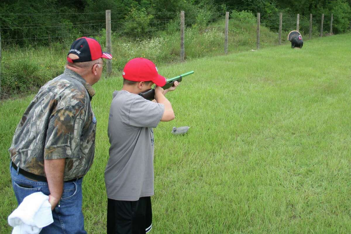 Young hunter practices for the 9th Annual Youth Hunter Education Program set Aug 10-11 2013 in Cypress.