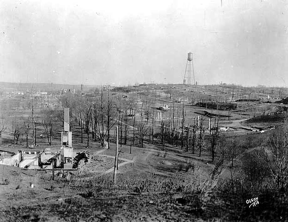 4. Cloquet Fire: Minnesota's great fire in October 1918 was set by train sparks after a hot, dry summer. Though the fire was only 20 feet wide when a farmer and his neighbor first noticed it, winds defeated all efforts to tamp out the fire and it grew to scorch more than 1.2 million acres. The blaze took more than 50,000 homes, inflicted $109 million in property damage and killed 453 people. Photo: Getty
