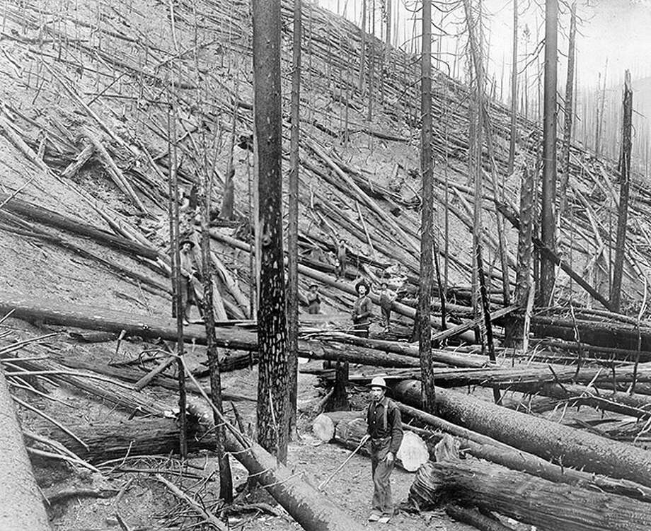 2. Big Blow-Up of 1910: This fire had far-reaching effects long after it burned 3 million acres across Washington, Idaho and Montana. The blaze, which began in the Bitterroots of Idaho and Montana after a rainless spring, overwhelmed the young U.S. Forest Service, only 5 years old at the time. Hundreds of slow-burning fires limited to the understory of forests combined to create the Blow-Up. Lumberjacks, railroaders, miners and anyone willing from area towns and villages threw all their resources into helping fight the fire and eventually the U.S. Army was deployed to the disaster. The scorcher killed 78 firefighters and more than 100 people total died as a result of the fire. The incident led  Gifford Pinchot and former President Theodore Roosevelt to clamor for more congressional funding of the devastated Forest Service. The successful campaign allowed the Forest Service to become the United States' biggest fire-fighting agency. Crews also built more trails and improved access in the affected area. Photo: Library Of Congress, Getty