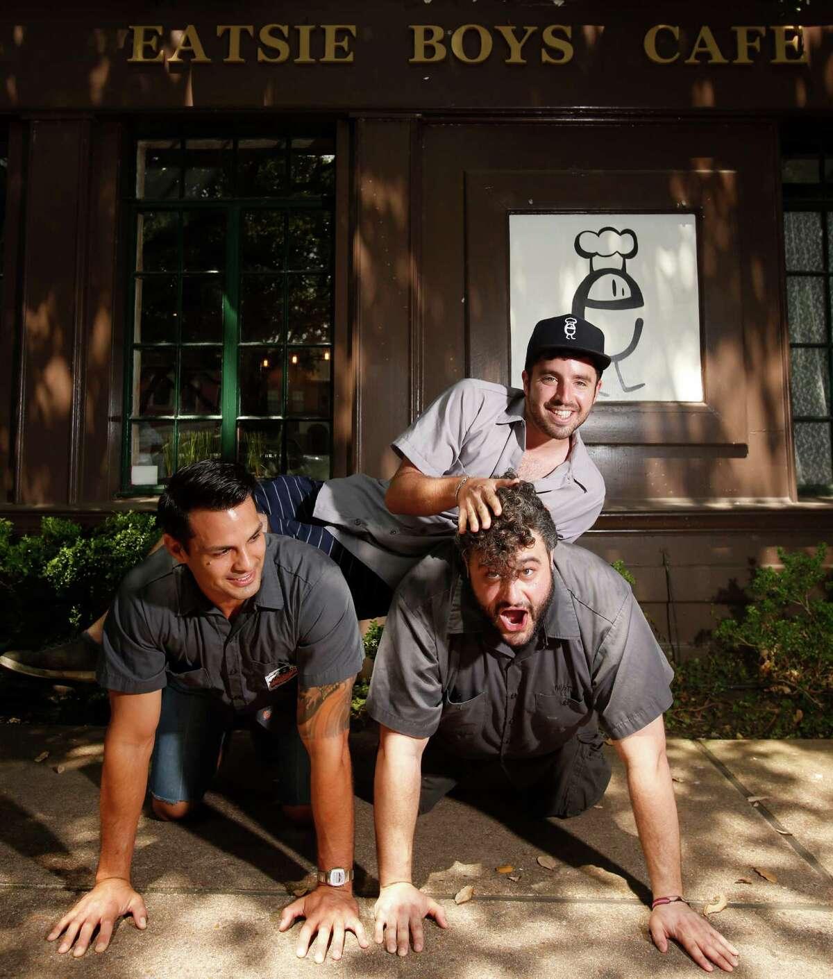 Ryan Soroka, top, Alex Vassilakidis, left, and Matt Marcusat of Eatsie Boys, 4100 Montrose, July 2, 2013 in Houston. (Eric Kayne/For the Chronicle)
