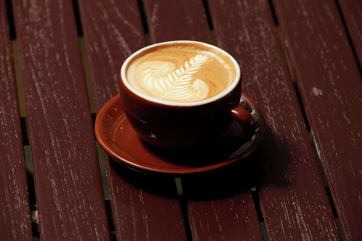 Latte at neighborhood coffee shop Eatsie Boys.
