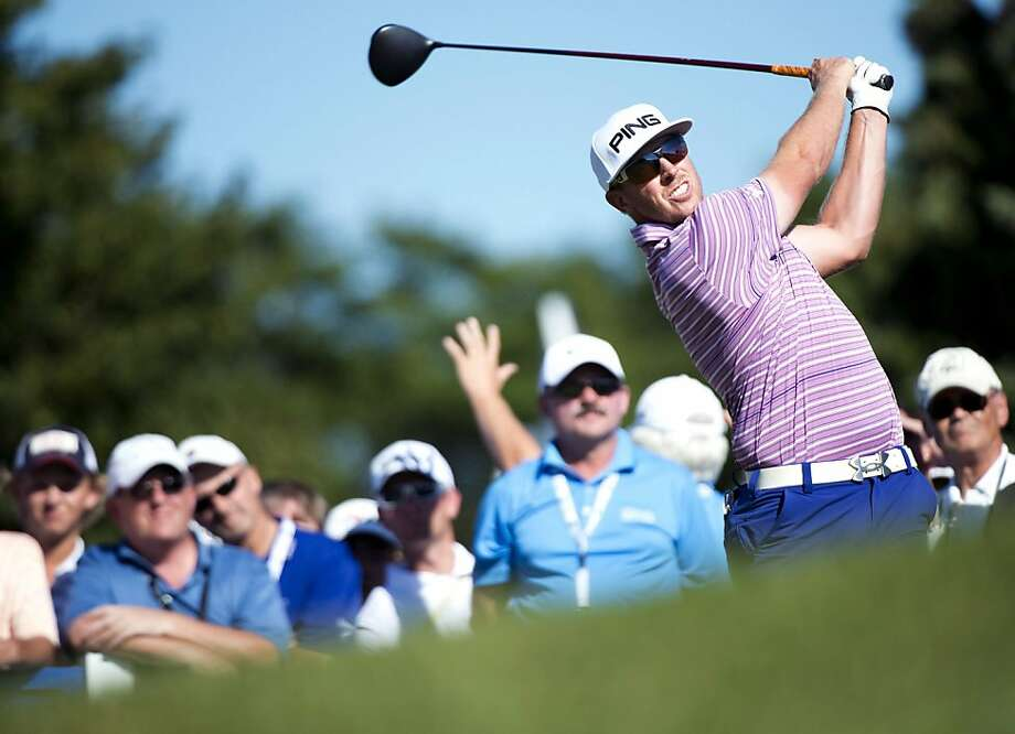 Hunter Mahan was leading the Canadian Open last week when he learned that his wife had gone into labor. Photo: Nathan Denette, Associated Press
