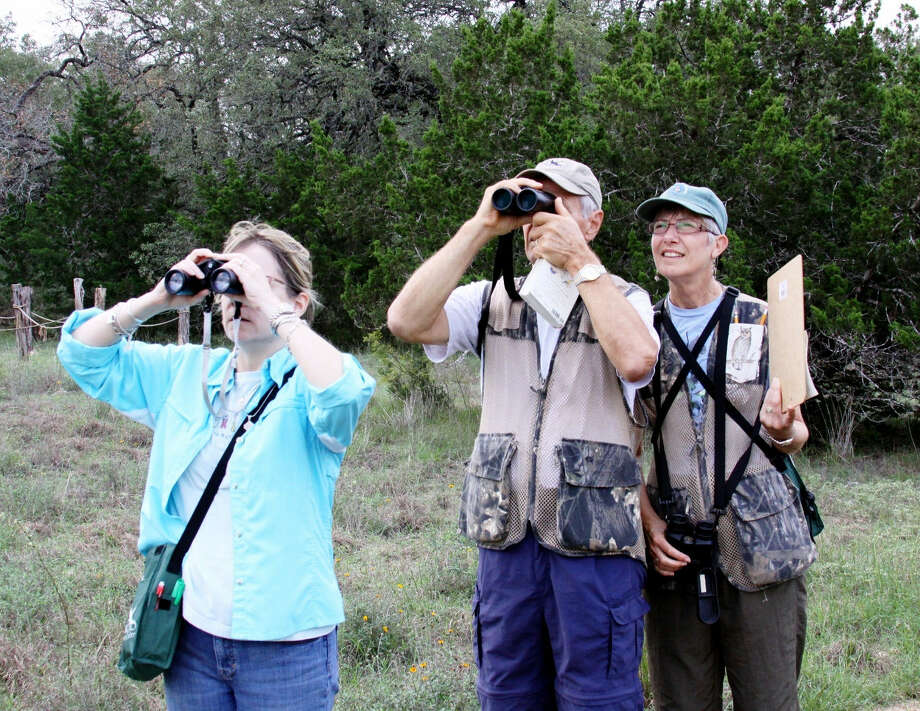 Patsy Inglet, right, leads a group of birders recently at the Cibolo Nature Center's nature preserve. She will hold a workshop at the center Aug. 24. Photo: Courtesy Photo