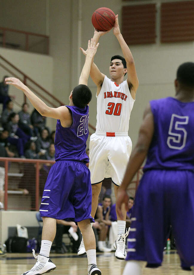 Brandeis' Matt Kallead (30) takes a shot in a Jan. 8 win over Warren. Kallead was selected to play in the all-star game. Photo: San Antonio Express-News