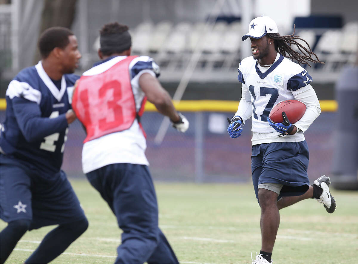 Receiver Dwayne Harris works on special teams drills during the morning session of the 2013 Dallas Cowboys training camp on Tuesday, July 30, 2013 in Oxnard.