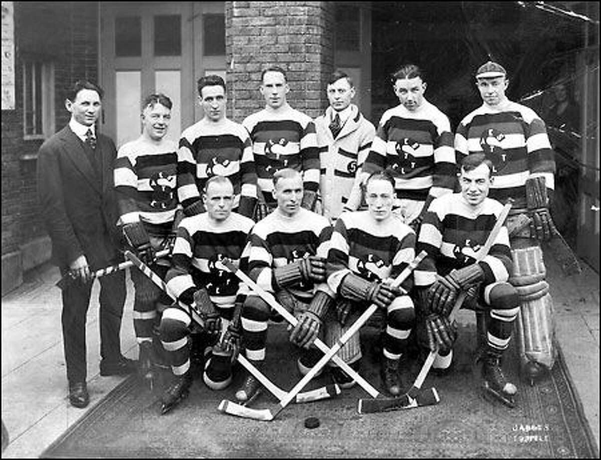 The Seattle Metropolitans were Seattle's first professional hockey team, active from 1915 to 1924. The team was a member of the Pacific Coast Hockey Association, one of several hockey leagues that competed for the Stanley Cup at the time. This photo shows the team in 1919.