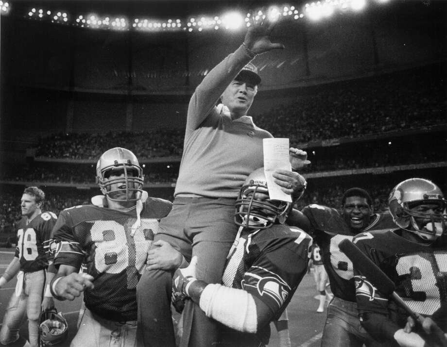 1984: Seahawks reach AFC championship game  The Seahawks hold the distinction of being the only NFL team to play in both the AFC and NFC championship games. In 1983, the franchise's eighth year and the first for head coach Chuck Knox (pictured), the Seahawks went 9-7 in the regular season and powered through the Broncos and Dolphins to reach the AFC championship game. But once there on Jan. 8, 1984, in Los Angeles, the Seahawks lost 30-14 to the Raiders. It would be more than 20 years before the Seahawks made it that far again. Photo: Kurt Smith, Seattle P-I Archives