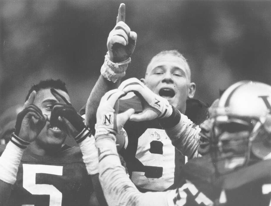 1991: Washington Huskies split national titleIn 1991, fresh off a Rose Bowl victory the year before, the Washington Huskies became a Pac-10 powerhouse and swept the regular season, never dipping below No. 4 in the rankings as they went undefeated 11-0. The Don James-led Dawgs met No. 4 Michigan in the Rose Bowl, winning 34-14 and earning a share of the national title. While the Miami Hurricanes also went 12-0 and won the AP Poll, the Huskies took the Coaches Poll and split the national championship with Miami. Photo: Paul Joseph Brown, Seattle P-I Archives
