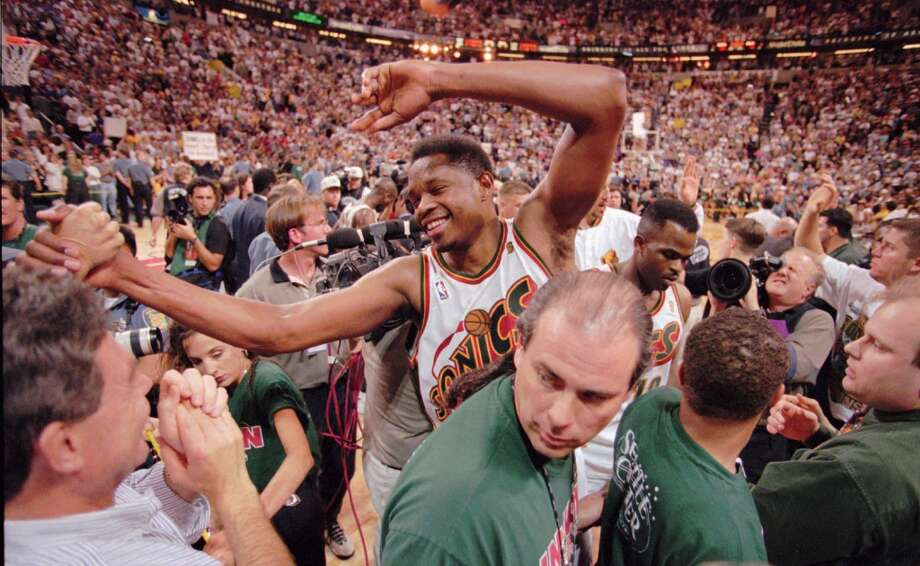 1996: Sonics return to NBA Finals  The Sonics hadn't made an appearance in the NBA Finals since their 1979 national championship, but a super squad led by Gary Payton, Shawn Kemp and Detlef Schrempf changed all that in the 1995-96 season. Avenging their upset playoff loss to the Nuggets in '94, the Sonics powered through the Kings, Rockets and Jazz to meet the Bulls in the '96 finals. There, however, Seattle faced Chicago's Michael Jordan, Dennis Rodman and Scottie Pippen. The Sonics lost the first three games, then made it interesting with two victories at KeyArena before falling in Game 6. The Sonics never made it back to the NBA Finals before leaving town in 2008. Photo: Elaine Thompson, Associated Press