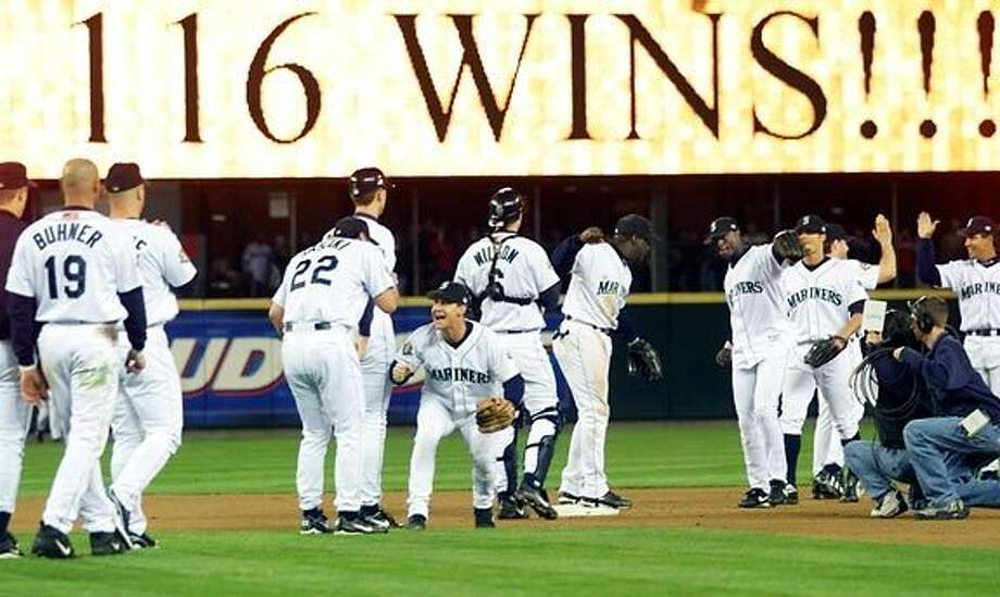 2001: Mariners tie MLB-record 116 wins  The 2001 Mariners were one of the best teams Major League Baseball had ever seen. They sent eight players to the All-Star Game -- which, by the way, was held at Safeco Field -- including rookie sensation Ichiro Suzuki. The star-studded Mariners won their 116th game on the second-to-last day of the regular season, tying the MLB record, and were a clear favorite for reaching the World Series. However, in the playoffs, even after beating the Indians in the ALDS, the M's lost to those damn Yankees in the ALCS and became the best baseball team to never reach the Fall Classic. Photo: Associated Press, Seattle P-I Archives / http://seattletimes.nwsource.com/ABPub/2011/07/09/2015561579.jpg