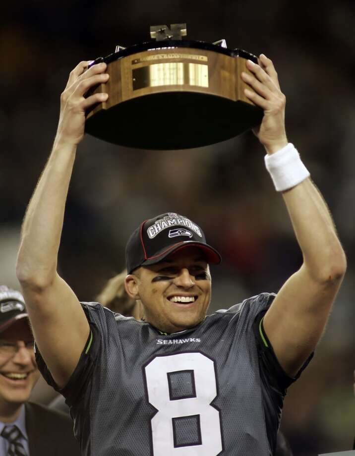 2006: Seahawks reach Super Bowl XLIn the 2005 season, after nearly three decades in existence, the Seahawks finally reached the Super Bowl. Led by quarterback Matt Hasselbeck (pictured with NFC trophy), running back Shaun Alexander and tackle Walter Jones, the 2005 Seahawks went 13-3 through the regular season and beat the Redskins to get to the NFC championship game, where they dispensed with the Panthers 34-14. Once they reached the Super Bowl, however, the Hawks had to deal with not just the Pittsburgh Steelers, but with the referees. Seattle fans largely blame questionable officiating for their beloved team's 21-10 loss in the Big Game. Photo: Ted S. Warren, Associated Press