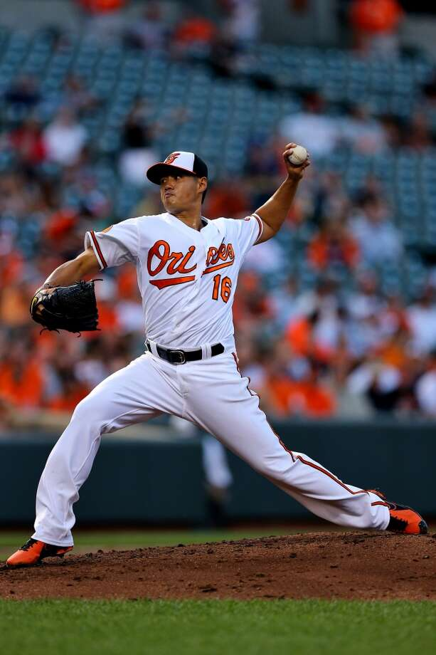 Orioles pitcher Wei-Yin Chen delivers a throw to the Astros. Photo: Patrick Smith, Getty Images