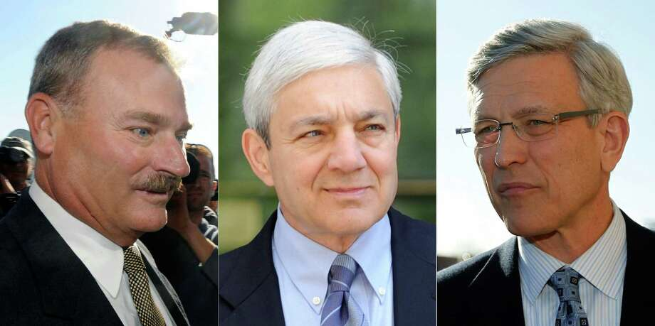 Heading to trial will be former Penn State Vice President Gary Schultz (from left), former President Graham Spanier and former athletics director Tim Curley.