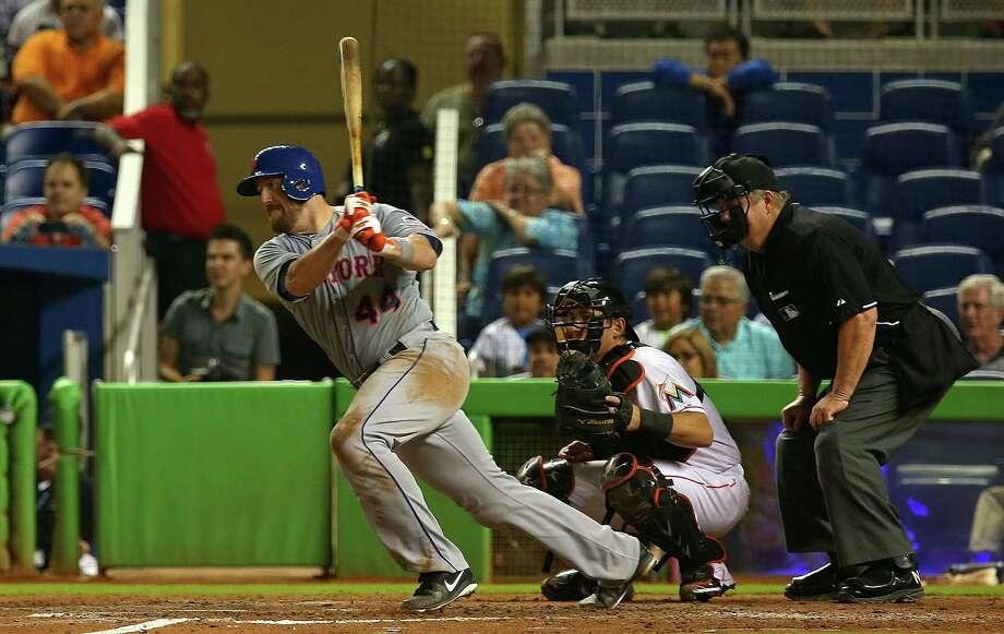 MIAMI, FL - JULY 30: John Buck #44 of the New York Mets hits a two-RBI single during a game against the Miami Marlins at Marlins Park on July 30, 2013 in Miami, Florida.  (Photo by Mike Ehrmann/Getty Images) ORG XMIT: 163494781 Photo: Mike Ehrmann / 2013 Getty Images