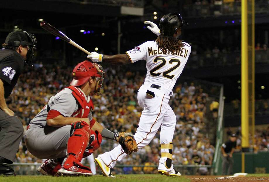 Andrew McCutchen of the Pirates belts a two-run home run in the fifth inning against the Cardinals during the second game of a doubleheader sweep Tuesday at PNC Park. Photo: Justin K. Aller / Getty Images
