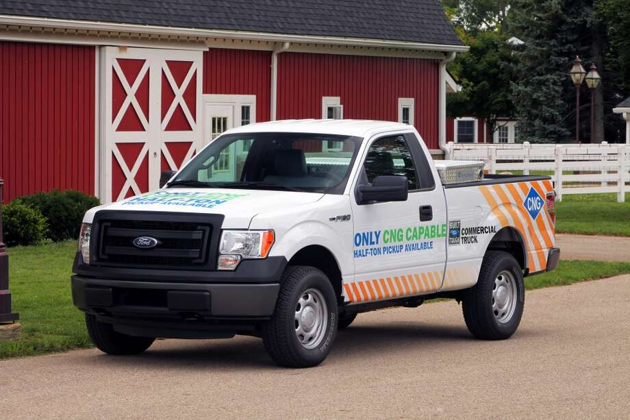 This 2014 Ford F-150 has undergone the complete conversion for bi-fuel use. The converted trucks can run on gasoline, compressed natural gas, or liquefied petroleum gases, like butane and propane. Photo: Ford Motor Company