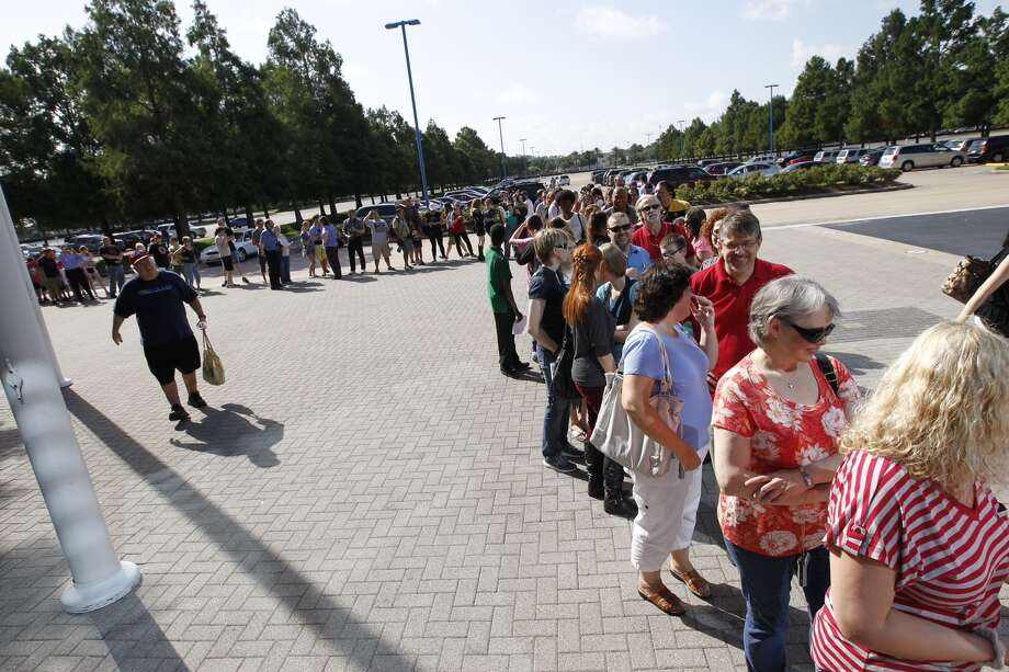 "Fans wait to enter the Space Center Houston to see the unveiling of the fully-restored StarTrek Galileo ship. Officials unveiled the newly restored spaceship prop featured in the 1967 Star Trek episode ""The Galileo Seven"" after a yearlong restoration project led by Adam and Leslie Schneider, die-hard Star Trek fans and memorabilia collectors. The life-size spaceship will be on permanent display inside Space Center Houston's Zero-G Diner and will be one of only a few exhibitions in the world where visitors can see iconic sci-fi history that has influenced generations of innovators. (Cody Duty / Houston Chronicle) Photo: Cody Duty, Houston Chronicle"