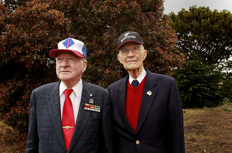 Veterans Donald Reid and John R. Stevens at the site of the proposed memorial. Photo: Michael Macor, The Chronicle