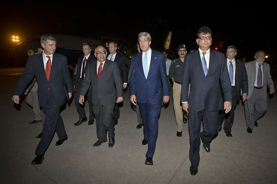 Secretary of State John Kerry arrives in Islamabad for meeting with members of Pakistan's newly elected civilian government. Photo: Jason Reed, Associated Press