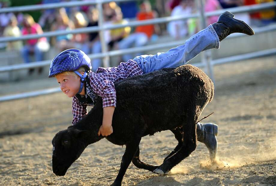 When we last saw him, 4-year-old Jesse Owings was hanging on for dear life in the 4-H Mutton Busting competition in Westminster, Md., as the mutton made a beeline for Pennsylvania. Photo: Dylan Slagle, Associated Press
